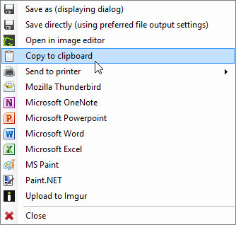 Greenshot: dialog window with export options
