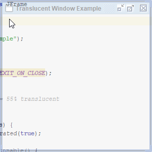 Example of a translucent window in Java with Swing