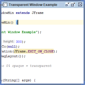 Transparent window example in Java with Swing