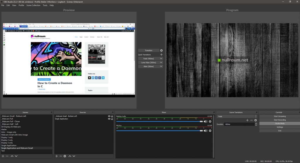 OBS studio screenshot showing scenes and transitions.